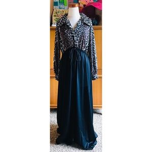 VNTG 70s Leopard Print Dressing Gown Drag Queen M
